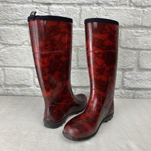 Kamik Red 'Gwyneth' Lace Rain Boots